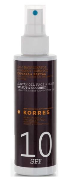 korres suntan oil face and body