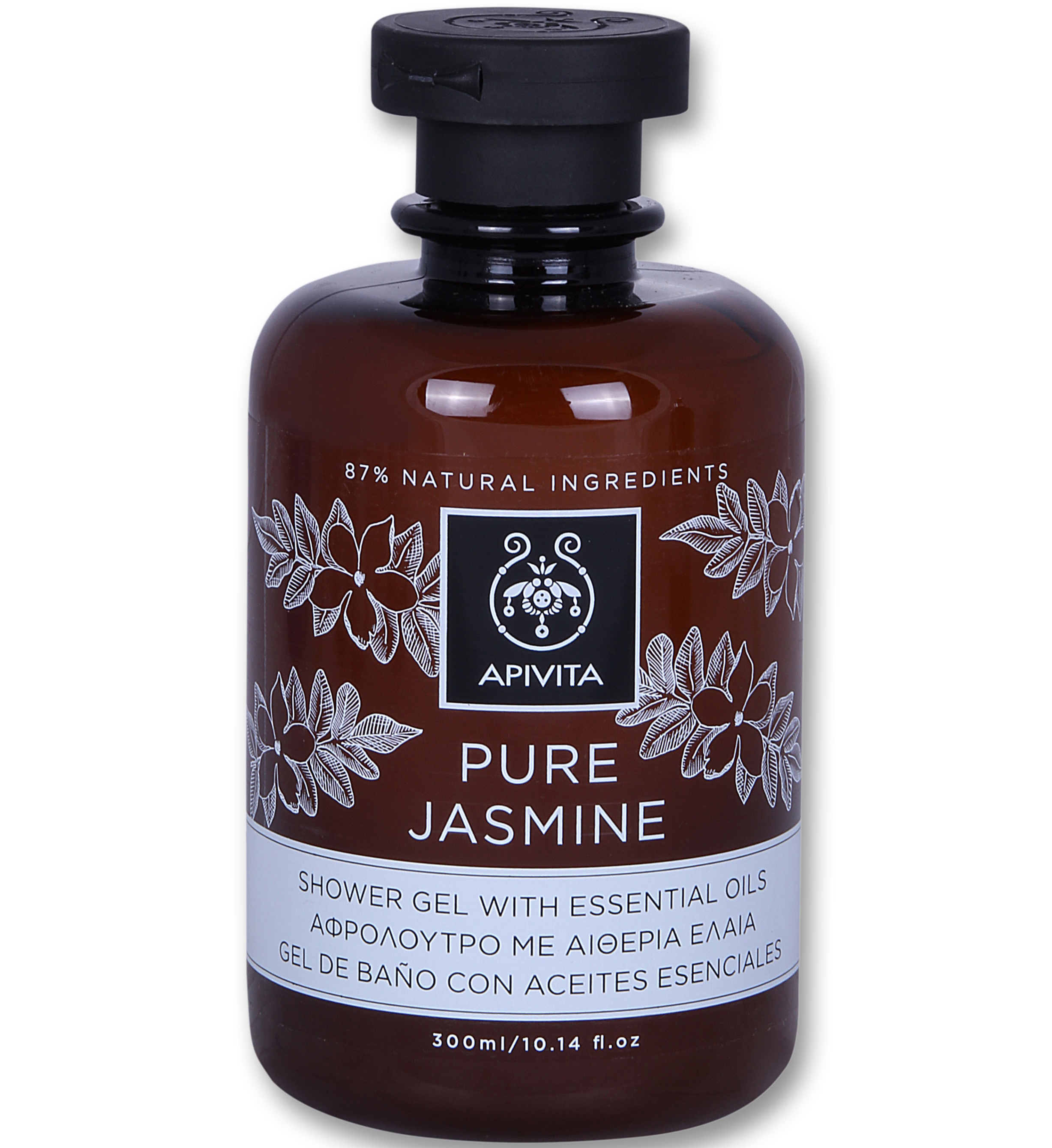Apivita Pure Jasmine Shower Gel with Essential Oils Αφρόλουτρο με Αιθέρια Έλαια & Άρωμα Γιασεμί 300ml