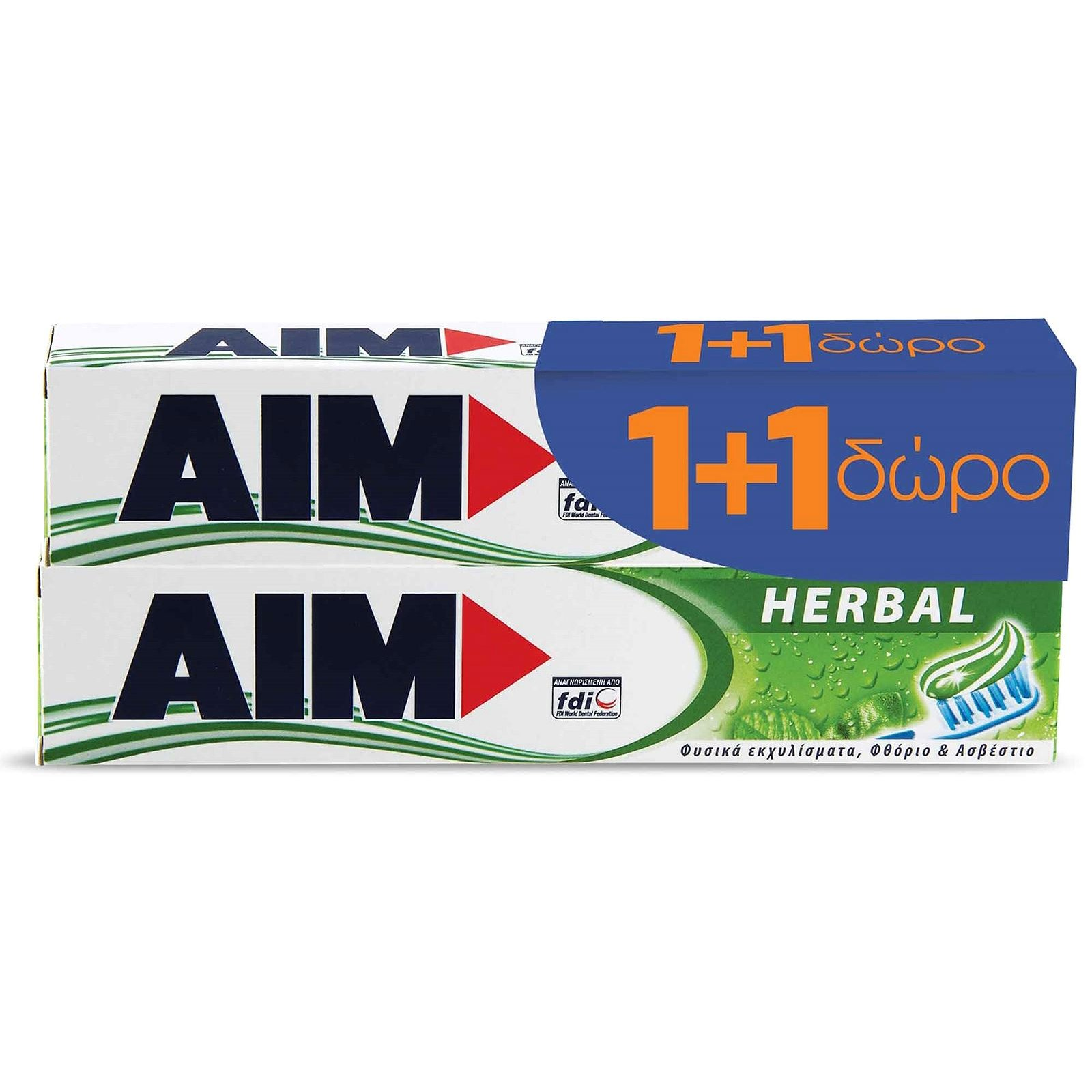 Aim Family Protection Herbal Toothpaste Οδοντόκρεμα 75ml 1+1 Δώρο