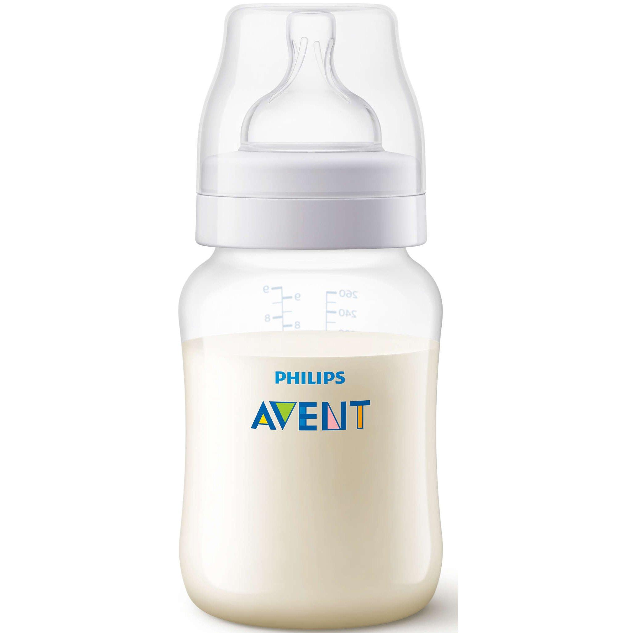 Philips Avent Anti-Colic Μπιμπερό Θηλή Σιλικόνης Αργής Ροής Κατά των Κολικών & της Δυσφορίας, από 1 Μηνών,0% BPA 260ml SCF813/17