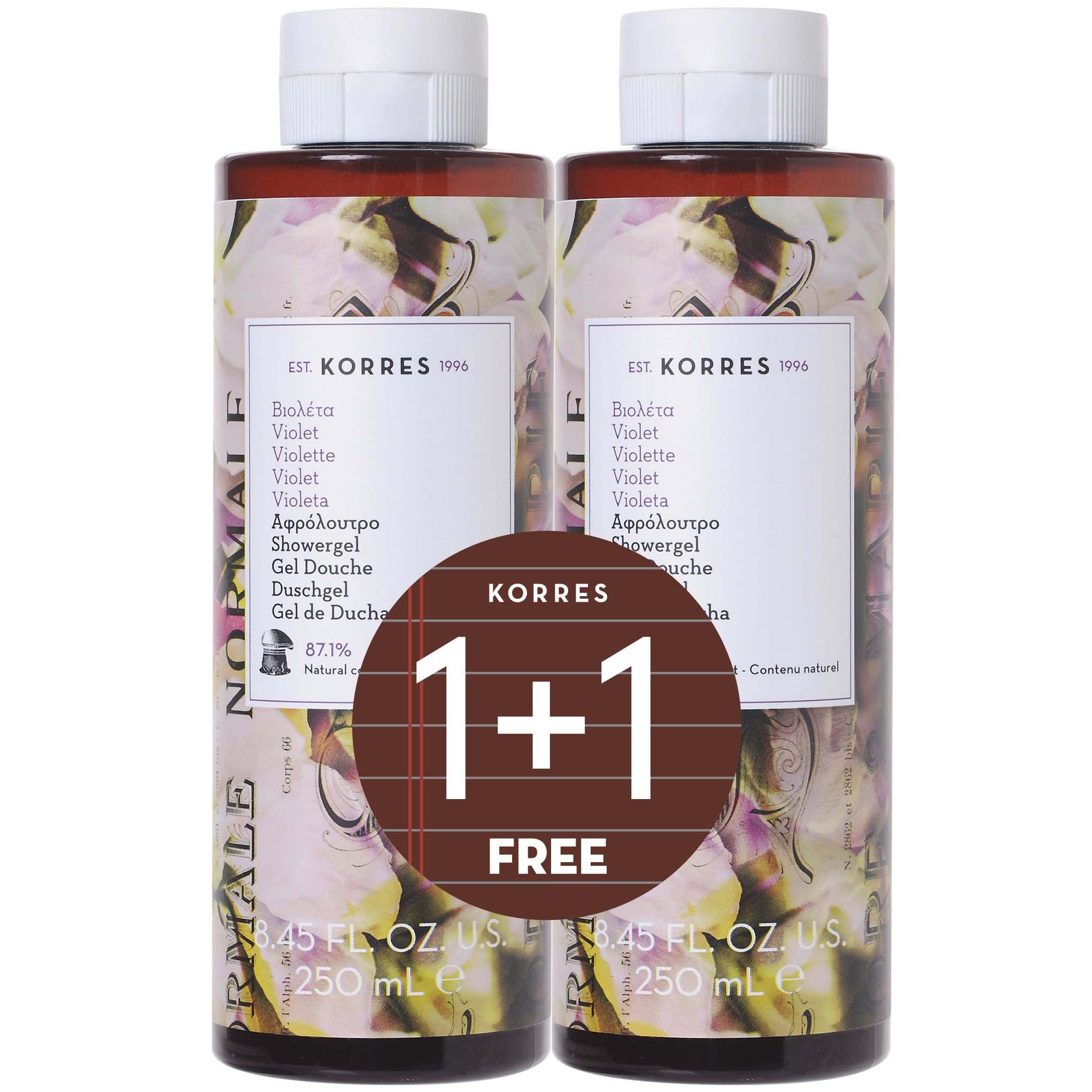 Korres Πακέτο Προσφοράς Shower Gel Violet Αφρόλουτρο, Γλυκό Πουδρένιο Άρωμα Βιολέτας με Απαλές Φρουτώδεις Νότες 2x250ml 1+1 Δώρο