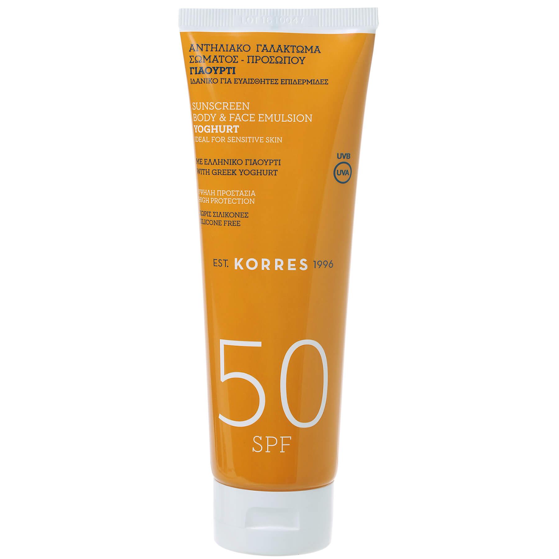 Korres Yoghurt Sunscreen Body & Face Emulsion Spf50 Αντηλιακό Γαλάκτωμα Προσώπου Σώματος Γιαούρτι 250ml