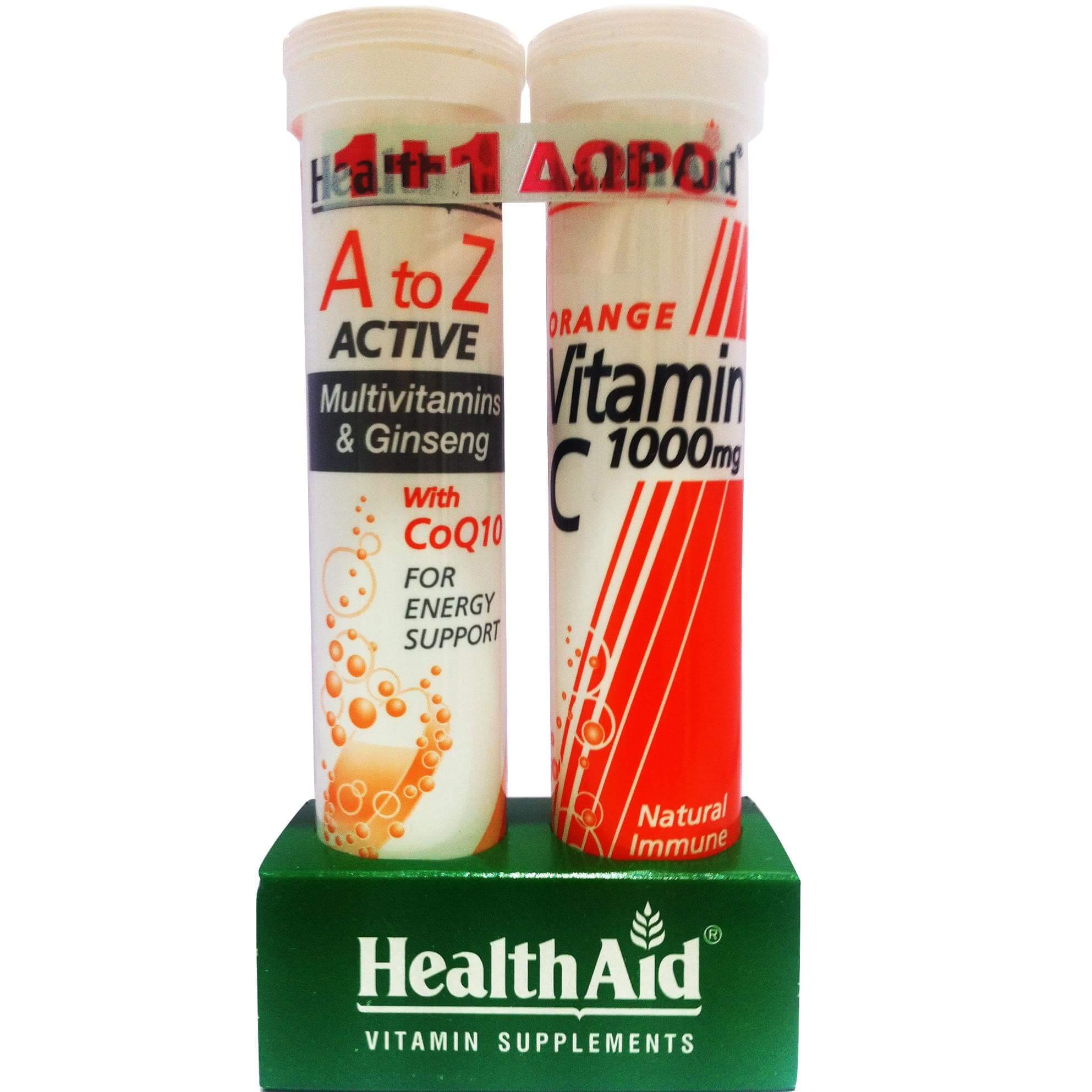 Health Aid Πακέτo Προσφοράς Α to Ζ Πολυβιταμίνες Τζίνσενγκ & Q10 20Effer.Tabs + Δώρο Vitamin C Orange 1000mg 20Effer.Tabs