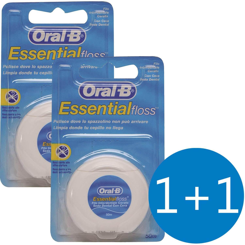 Oral-B Πακέτο Προσφοράς Essential Floss Κηρωμένο Οδοντικό Νήμα 50m 1+1 Δώρο