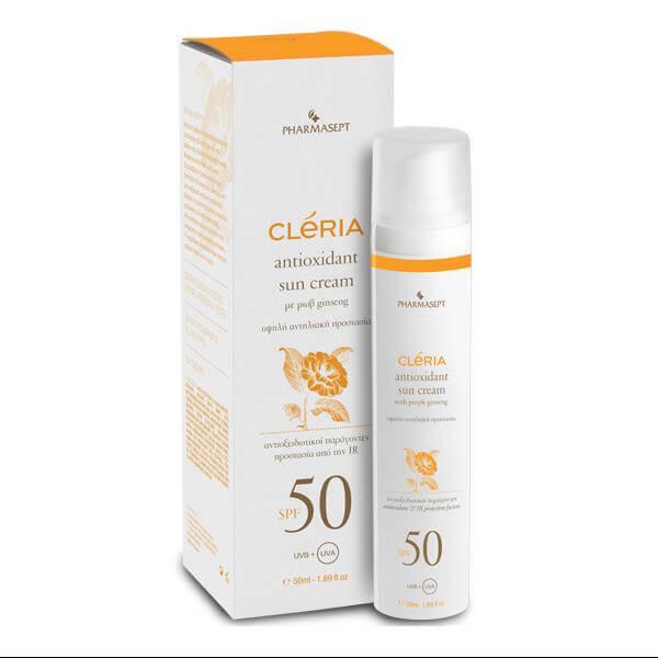 Pharmasept Cleria Antioxidant Sun Cream Spf50 Αντηλιακή Κρέμα Προσώπου Εμπλουτισμένη με Ενυδατικούς Παράγοντες 50ml