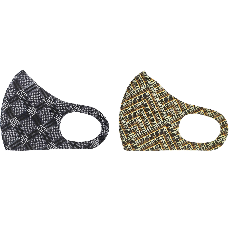 TiLi Fashion Face Mask Μάσκα Ενηλίκων Πολλαπλών Χρήσεων Μαύρο – Καφέ Εμπριμέ Σχέδιο 2 Τεμάχια