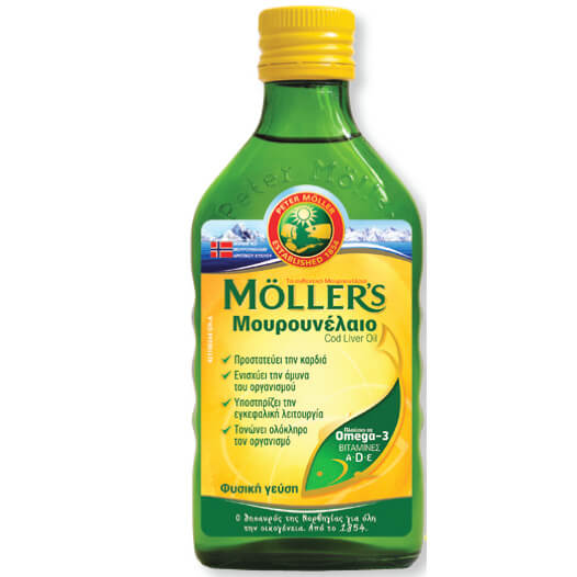 Möller's Μουρουνέλαιο Cod Liver Oil Natural Πλούσιο σε Ωμέγα-3 με Βιταμίνες A,D & E Φυσική Γεύση 250ml