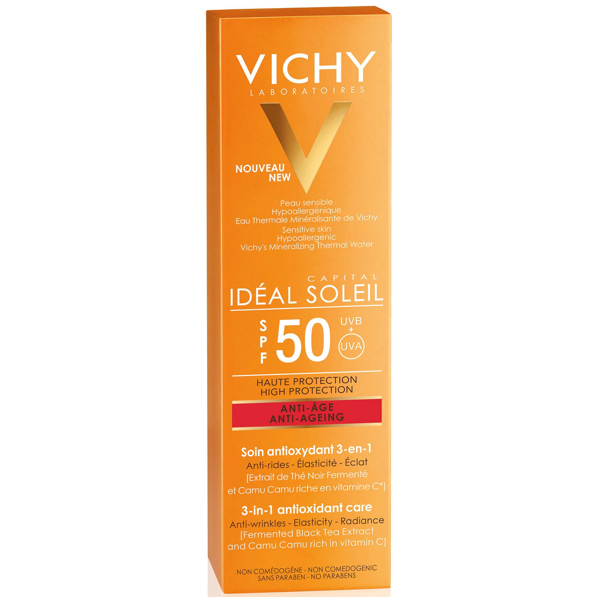 Vichy Ideal Soleil Spf50 Anti-Age Antioxidant 3 in 1 Αντηλιακή Αντιρυτιδική Κρέμα Υψηλής Προστασίας με Αντιοξειδωτική Δράση 50ml