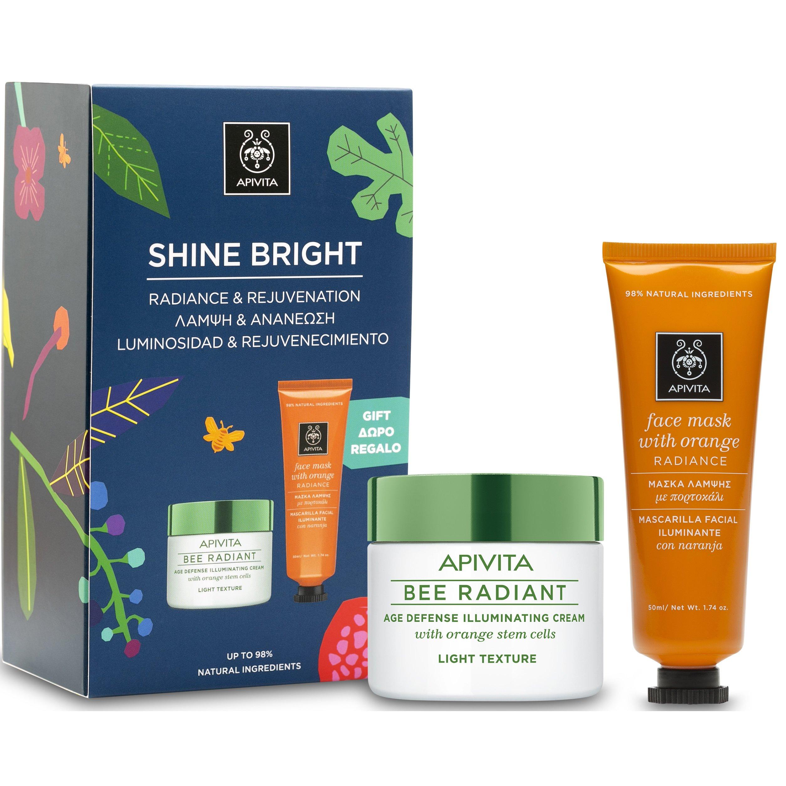 Apivita Box Shine Bright Bee Radiant Cream, Light Texture Κρέμα Αντιγήρανσης & Λ προσφορές   σετ περιποίησης προσώπου   σετ καθαρισμού προσώπου   απολέπισης   μά