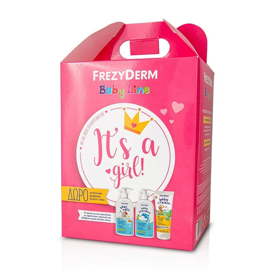 Frezyderm Baby It's a Girl Baby Cream 175ml, Baby Shampoo 300ml, Baby Bath 300ml & Δώρο μια Επώνυμη Βαμβακερή Πετσέτα – Κάπα