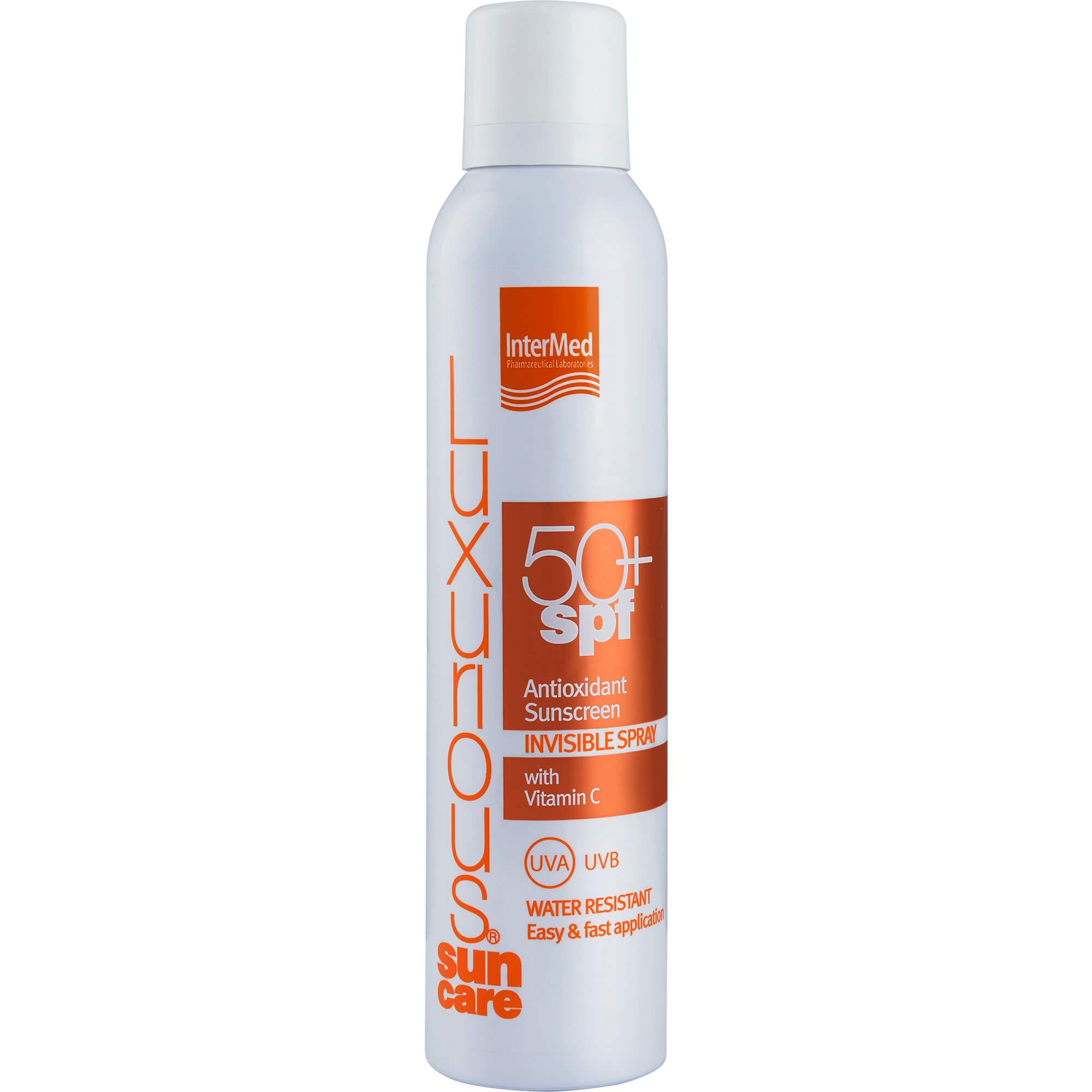 Luxurious Suncare Antioxidant Sunscreen Invisible Spray Spf50+, Διάφανο Spray Σώματος Πολύ Υψηλής Αντηλιακής Προστασίας 200ml