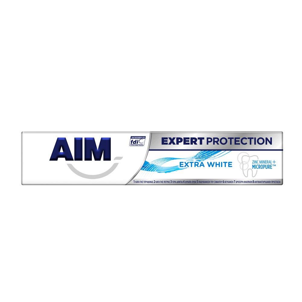 Aim Expert Protection Extra White Λευκαντική Οδοντόκρεμα Πολλαπλής Προστασίας 75ml