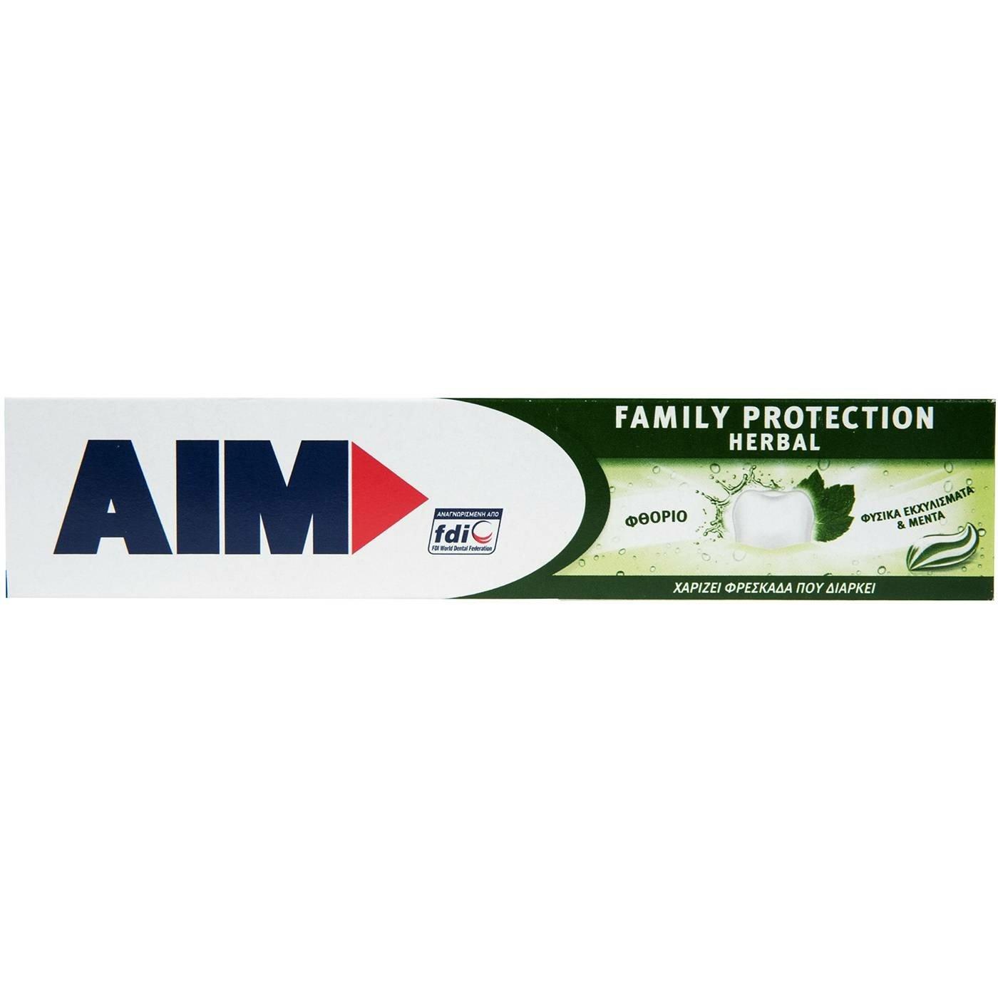 Aim Family Protection Herbal Οδοντόκρεμα με Φυσικά Εκχυλίσματα για Καταπολέμηση της Κακοσμίας & για Φρεσκάδα που Διαρκεί 75ml