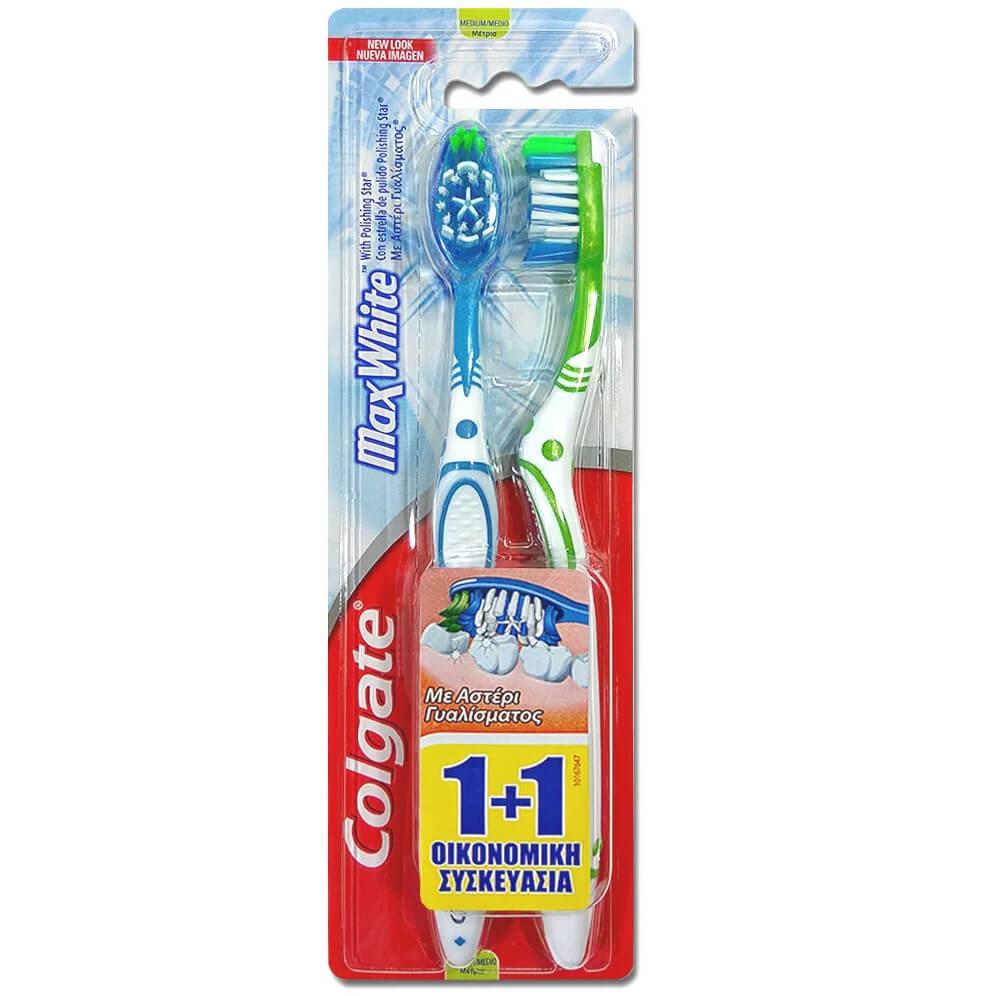 Colgate Max White Medium Οδοντόβουρτσα Μέτρια με Αστέρι Γυαλίσματος για την Απομάκρυνση των Χρωματικών Λεκέδων 1+1 Δώρο – μπλε-ροζ