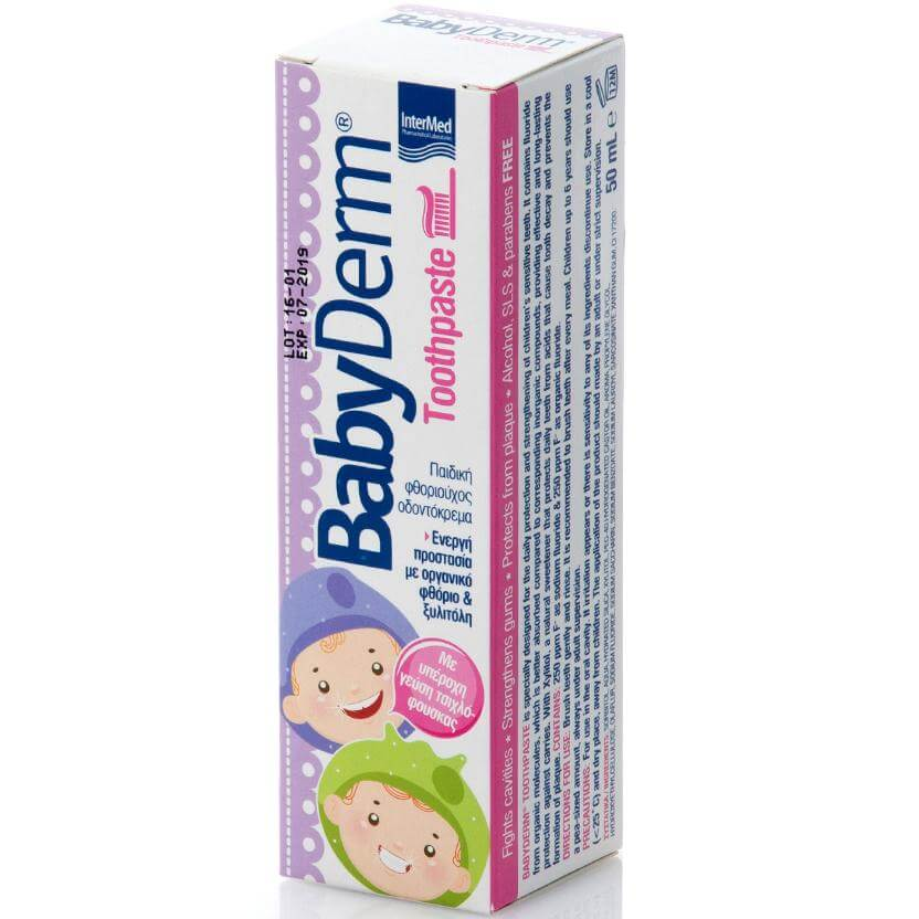 BabyDerm Toothpaste Παιδική Φθοριούχος Οδοντόκρεμα με Γεύση Τσιχλόφουσκα 50ml
