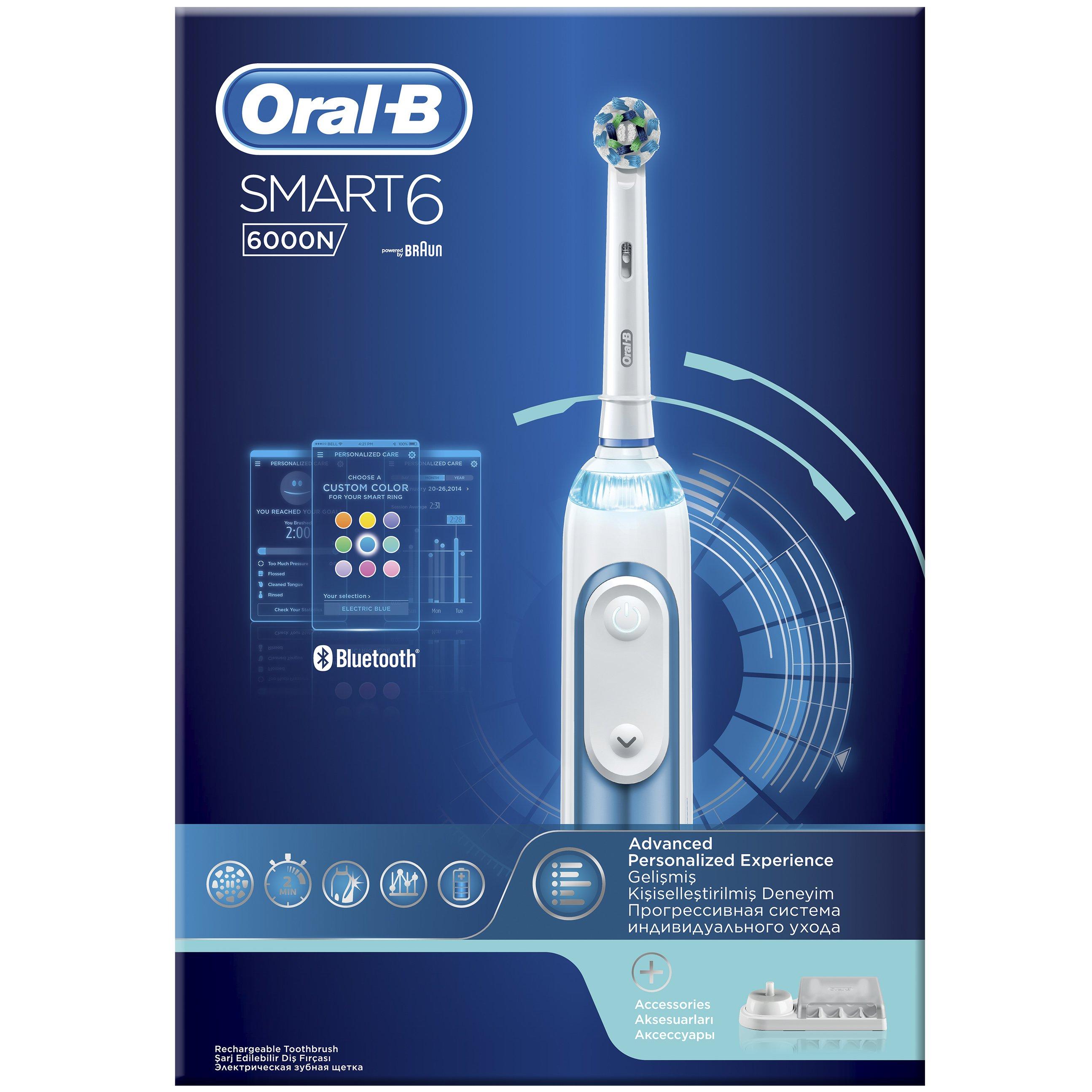 Oral-B Smart 6 6000 N Ηλεκτρική Οδοντόβουρτσα με Προηγμένες Λειτουργίες & Λειτουργία Bluetooth για Σύνδεση με το Smartphone
