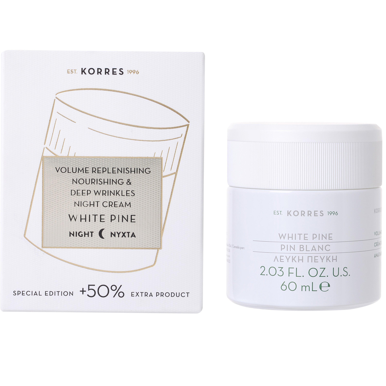 Korres White Pine Night Cream Λευκή Πεύκη Κρέμα Νύχτας για την Αναπλήρωση του Όγκου & Πυκνότητας Όλοι οι Τύποι Επιδερμίδας 60ml