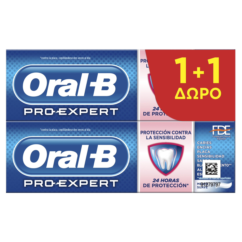 Oral-B Πακέτο Προσφοράς Pro Expert Sensitive Toothpaste Οδοντόκρεμα Κατά της Πλάκας, 24ωρη Προστασία στα Ευαίσθητα Δόντια 2x75ml