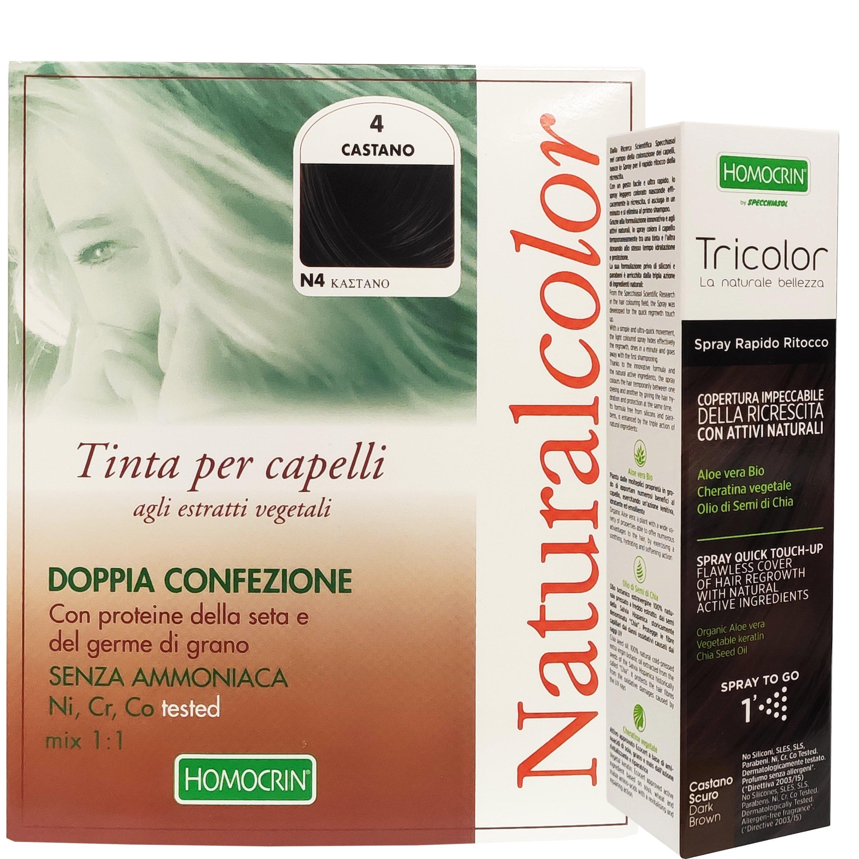 Specchiasol Πακέτο Προσφοράς Homocrin Natural Color N4 Φυτική Βαφή Μαλλιών Καστανό & Δώρο Homocrin Tricolor Spray 75ml