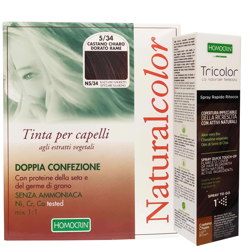 Specchiasol Πακέτο Προσφοράς Homocrin Natural Color N5.34 Φυτική Βαφή Μαλλιών Καστανό Ανοιχτό & Δώρο Homocrin Tricolor Spray 75m