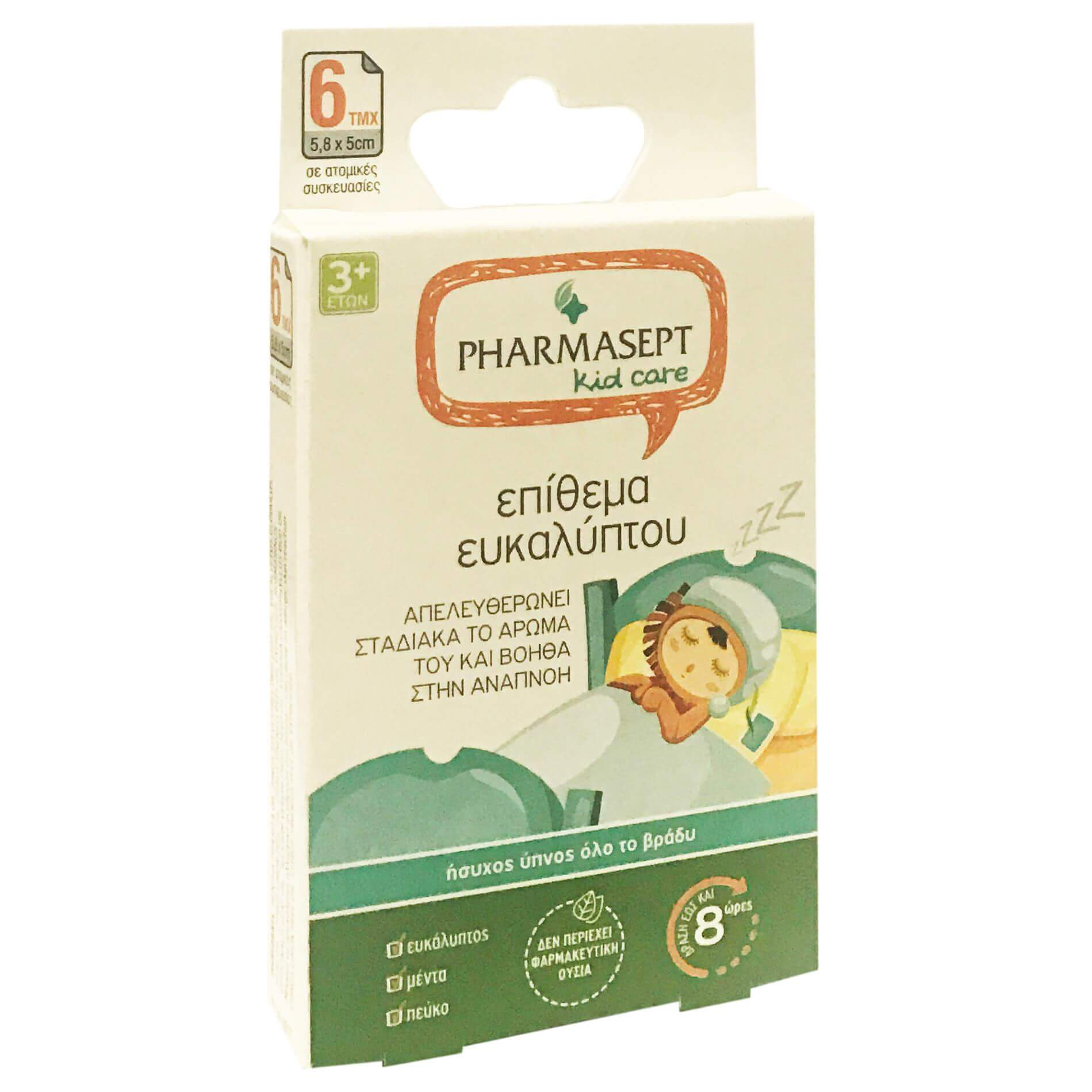 Pharmasept Kid Care Επίθεμα Ευκαλύπτου με Εκχυλίσματα Βοτάνων που Βοηθά την Αναπνοή,για Παιδιά Άνω των 3 Ετών6 Τεμάχια