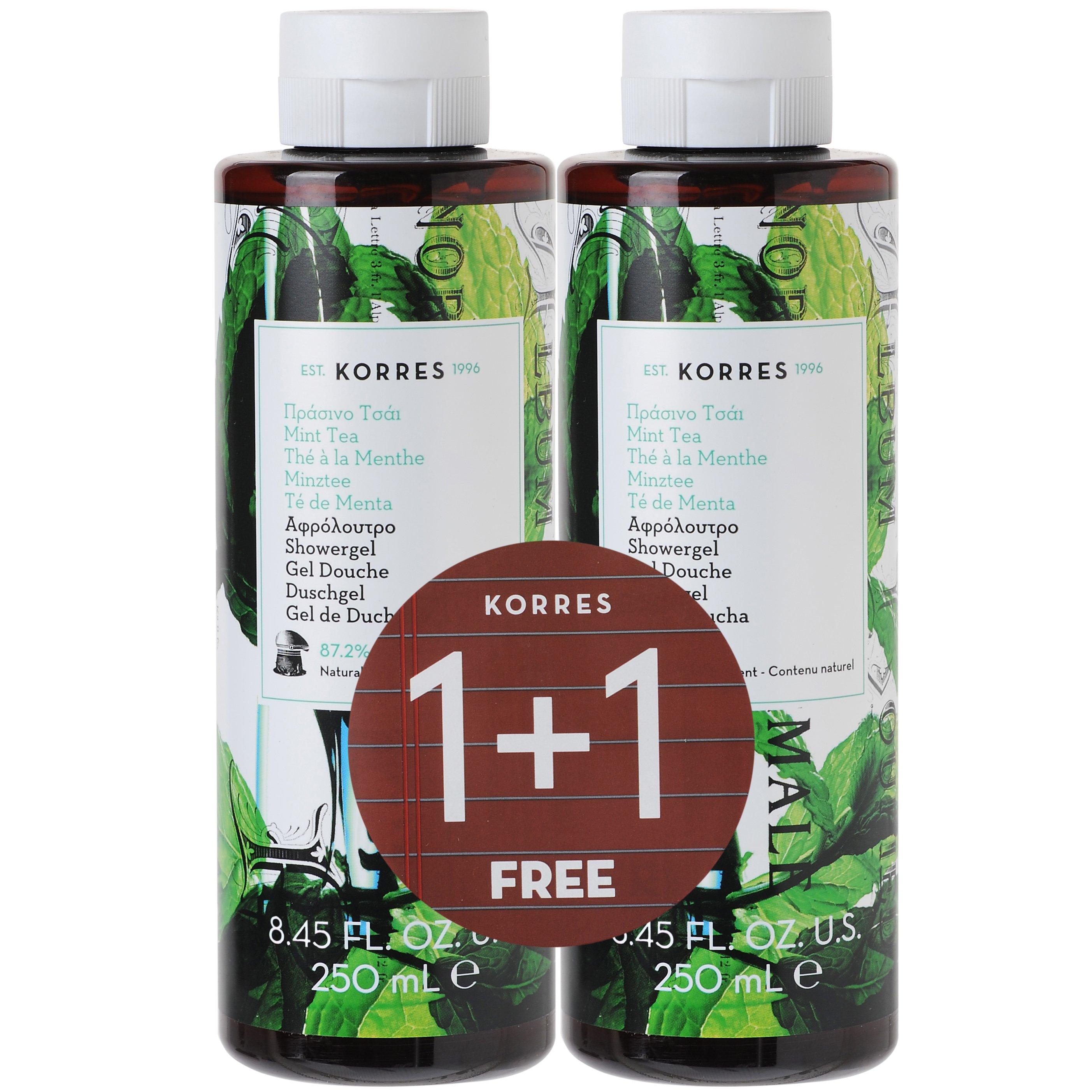 Korres Πράσινο Τσάι Οικείο Δροσερό Και Ξεχωριστό Αφρόλουτρο 1+1 Δώρο, 2 x 250ml