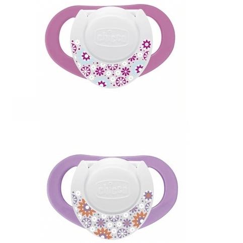 Chicco Compact Physio Πιπίλα Καουτσούκ με Κρίκο 6-12m Ροζ 2 Τεμάχια