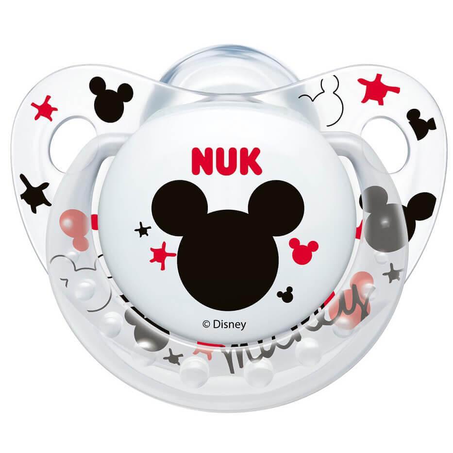 NUK Trendline Disney Mickey Πιπίλα Άσπρο Διάφανο, Σιλικόνης 6-18m 1 τεμάχιο