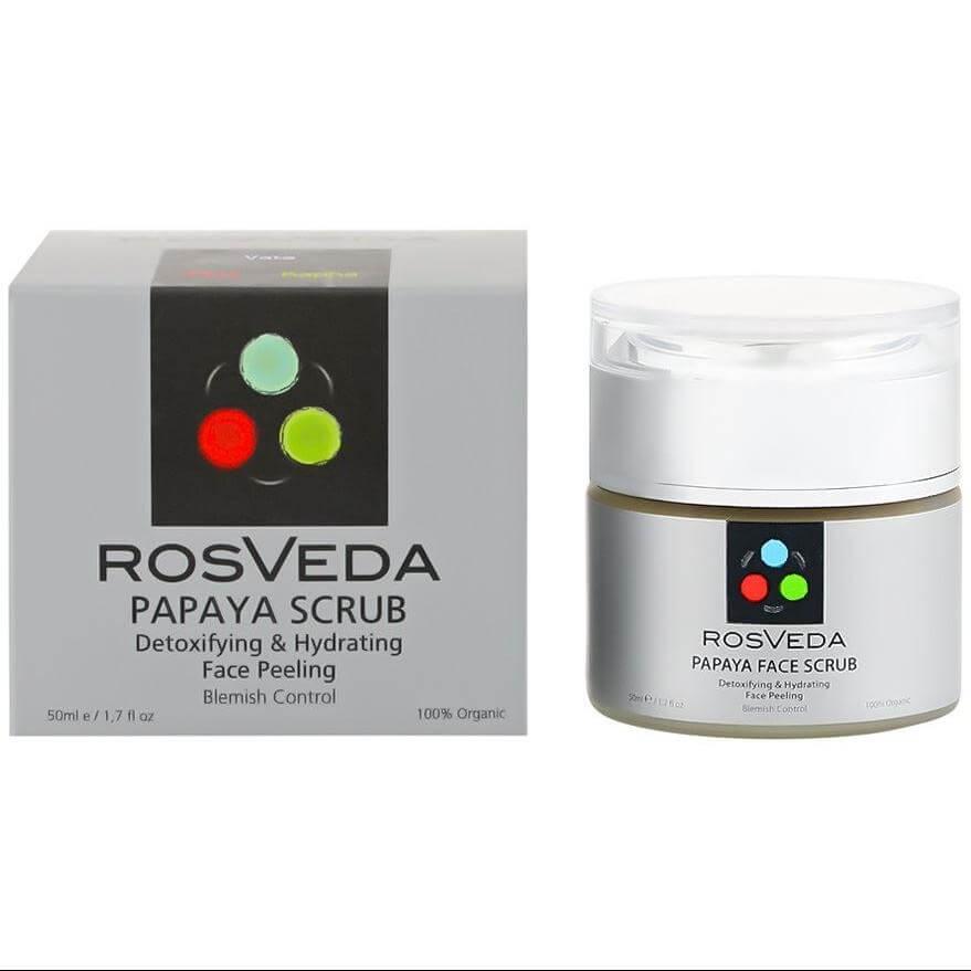 RosVeda Papaya Scrub 100% Φυτική Σύνθεση Απολεπιστικό Προσώπου για Μείωση Πανάδων, Αποτοξίνωση & Ενυδάτωση 50ml