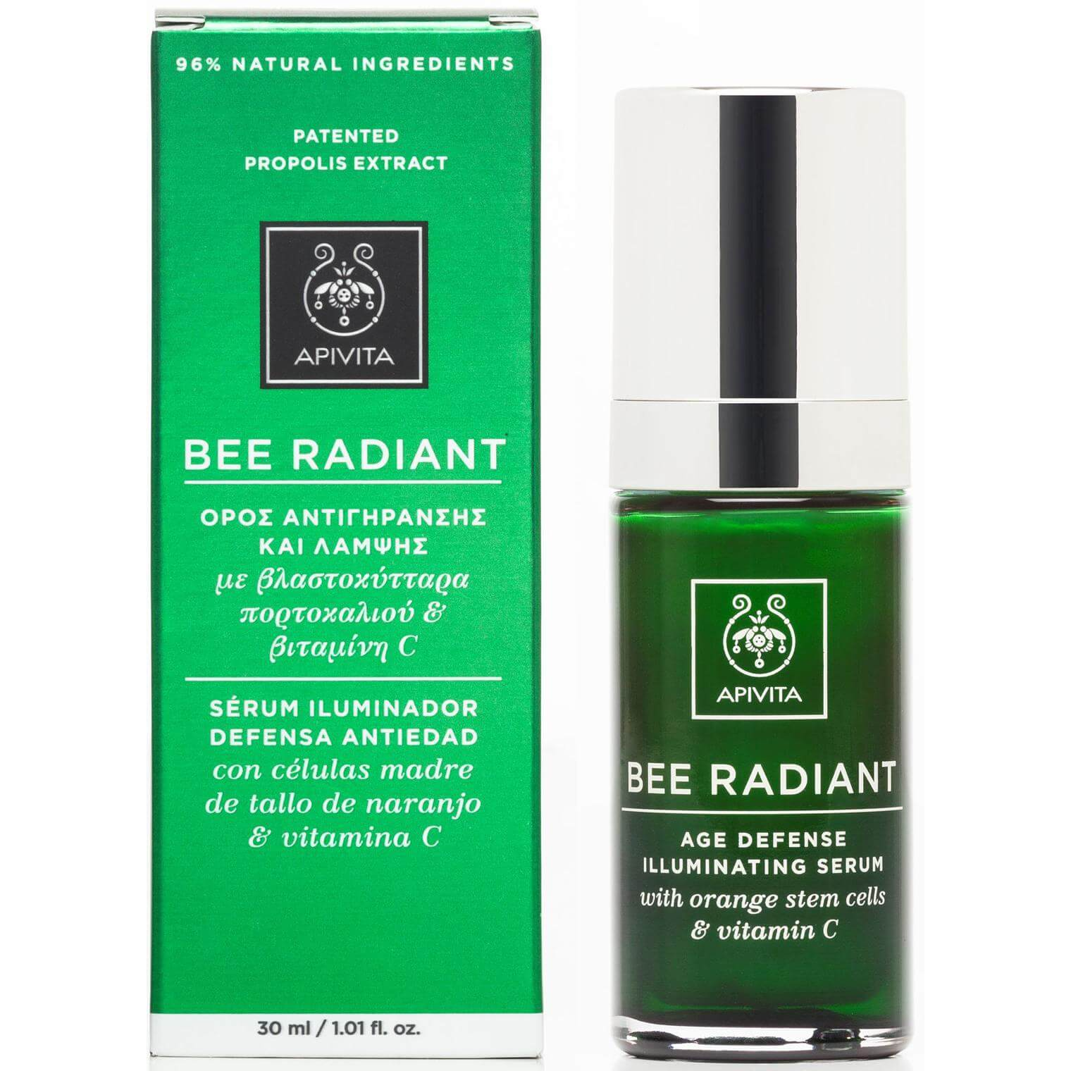 Apivita Bee Radiant Serum Ορός Αντιγήρανσης & Λάμψης με Βλαστοκύτταρα Πορτοκαλιού & Βιταμίνη C 30ml