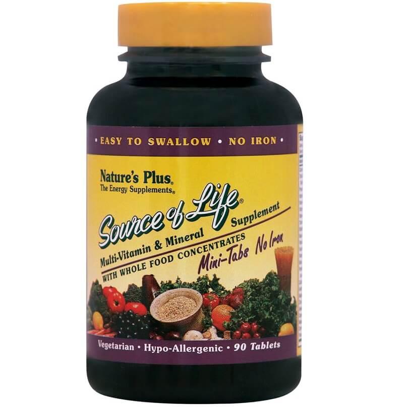 Natures Plus Source Of Life Mini-Tabs No Iron Συμπλήρωμα Διατροφής για Τόνωση & Ενέργεια του Οργανισμού90 Τabs