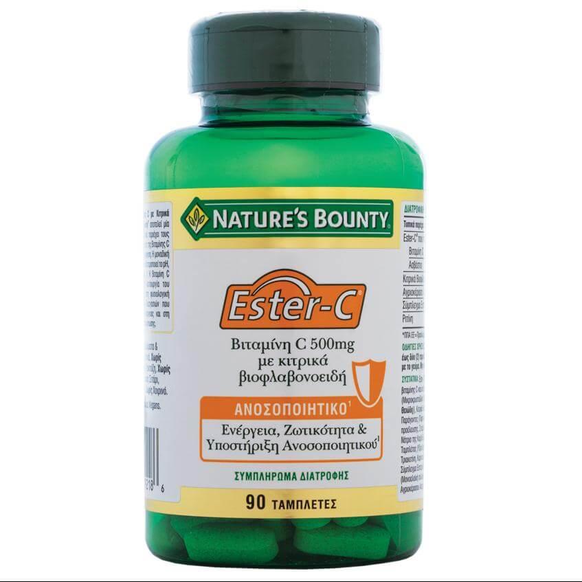 Natures Bounty Bιταμίνη Ester-Cμε Κιτρικά Βιοφλαβονειδή Συμπλήρωμα Διατροφήςγια τηΚαλύτερη Απορρόφηση Σιδήρου500mg 90tabs
