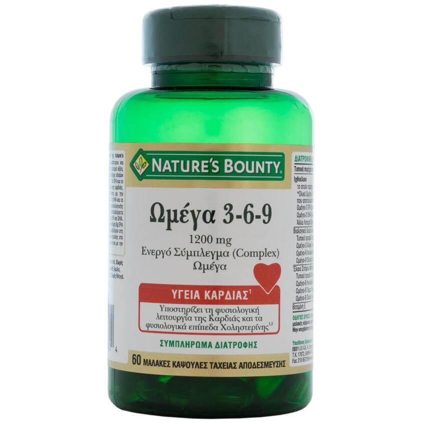 Natures Bounty Ωμέγα 3-6-9 Συμπλήρωμα Διατροφής για τη Καλή Υγεία του Οργανισμού1200mg60caps