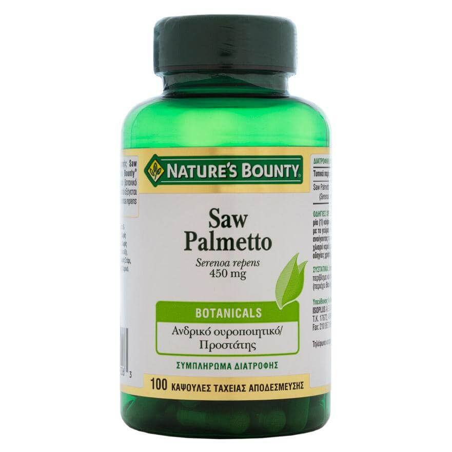 Natures Bounty Saw Palmetto Συμπλήρωμα Διατροφής για ΥγιήΑνδρικό ΟυροποιητικόΣύστημα&Τόνωση του Προστάτη450mg 100caps