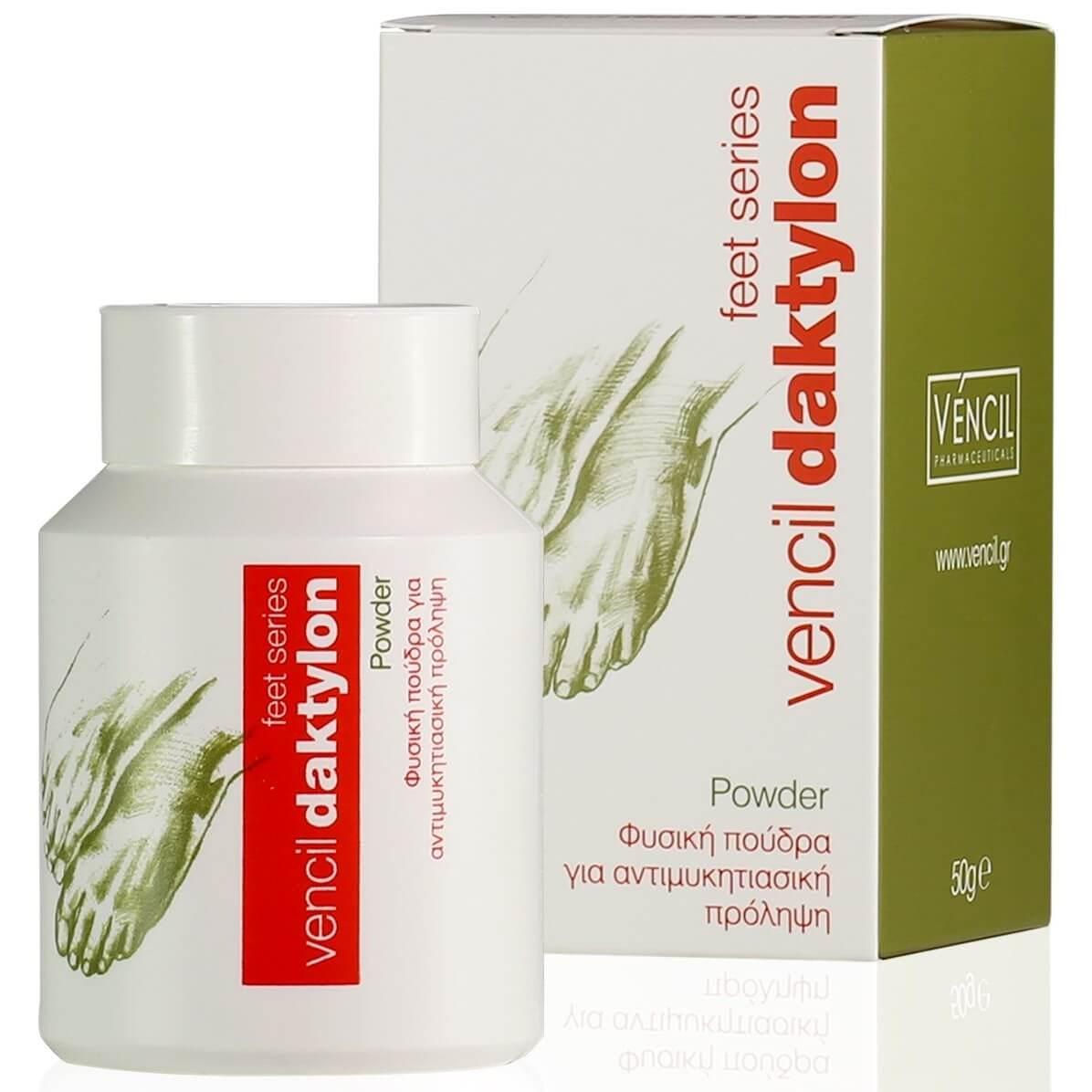 Vencil Daktylon Powder Φυσική Πούδρα για Αντιμυκητιασική Πρόληψη με Αντιφλογιστική, Αποσμητική &Απορροφητική Δράση 50g