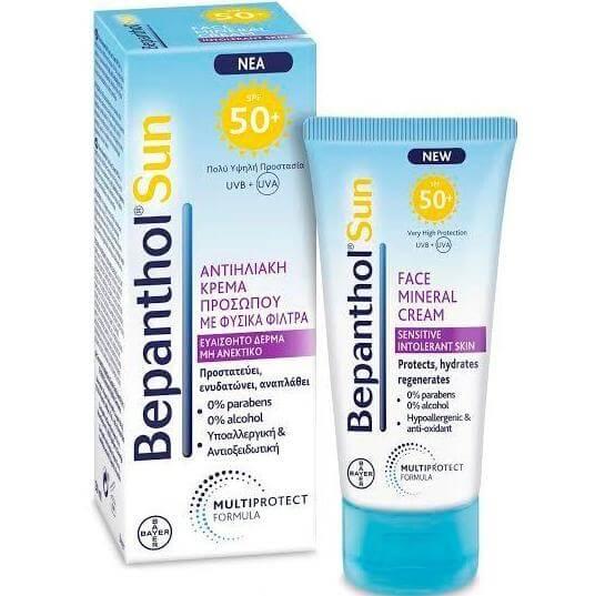Bepanthol Sun Spf50+ Αντηλιακή Κρέμα για Προσώπου με Φυσικά Φίλτρα για το Ευαίσθητο, μη Ανεκτικό Δέρμα, 50ml