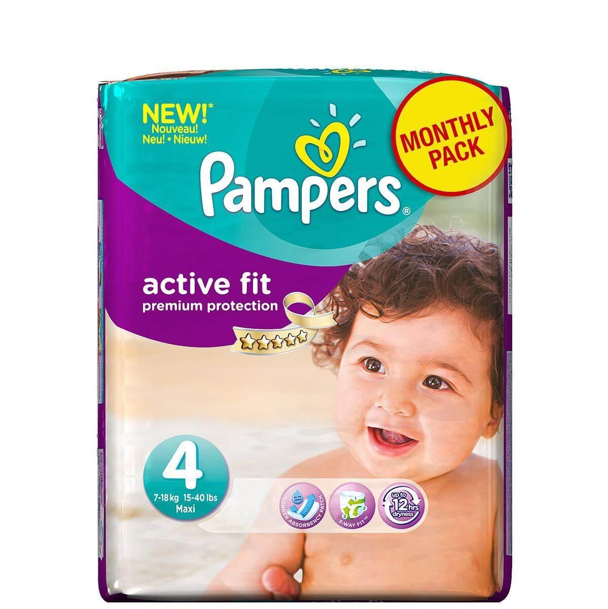 Pampers Active Fit Maxi No. 4 (8-16 kg) Monthly Pack, 168 τμχ, μόνο 0,29€/πάνα μητέρα παιδί   περιποίηση για το μωρό   πάνες