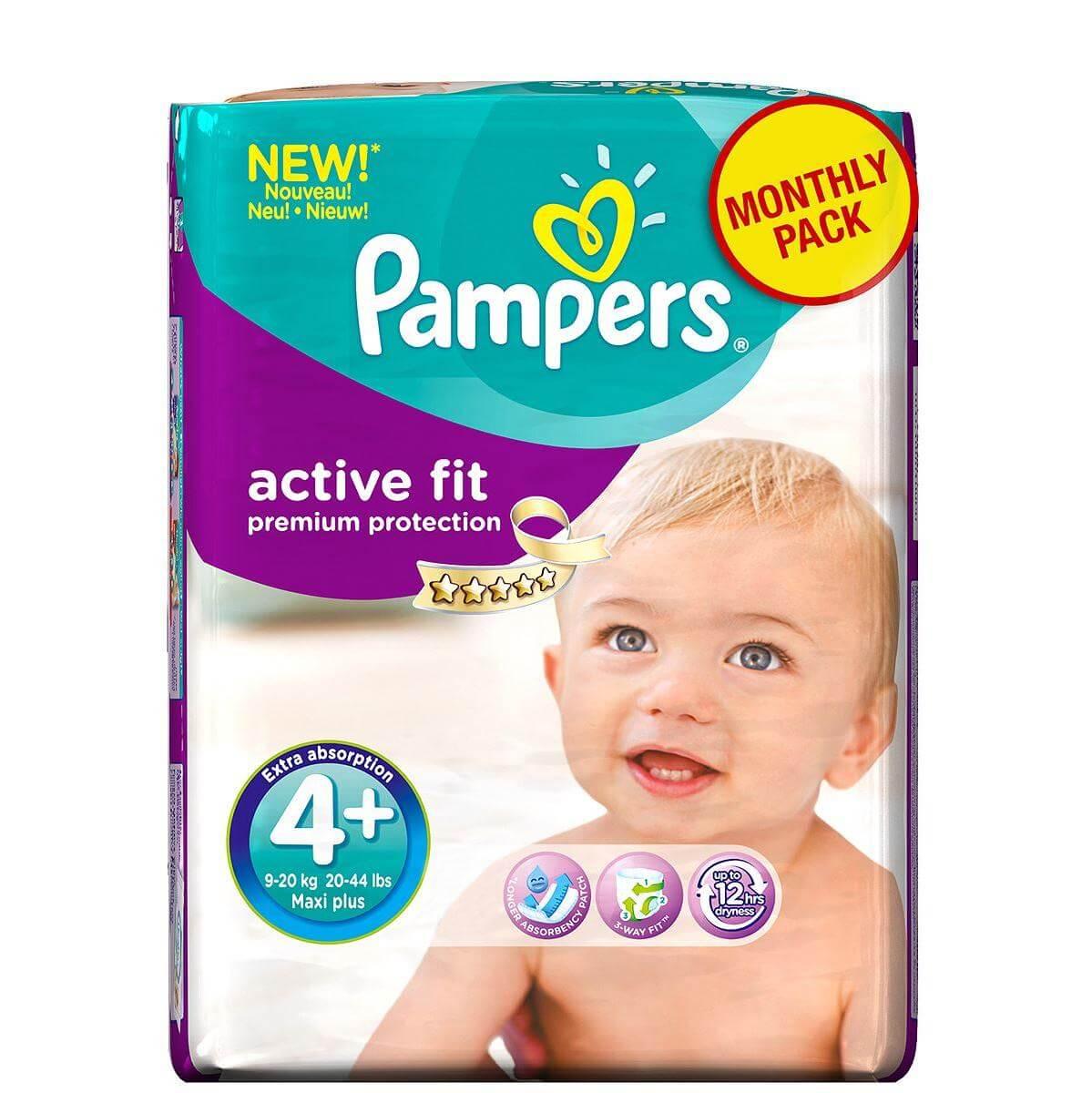Pampers Active Fit Maxi Plus No. 4 + (9-18kg) Monthly Pack, 140 τμχ, μόνο 0,35€/ μητέρα παιδί   περιποίηση για το μωρό   πάνες