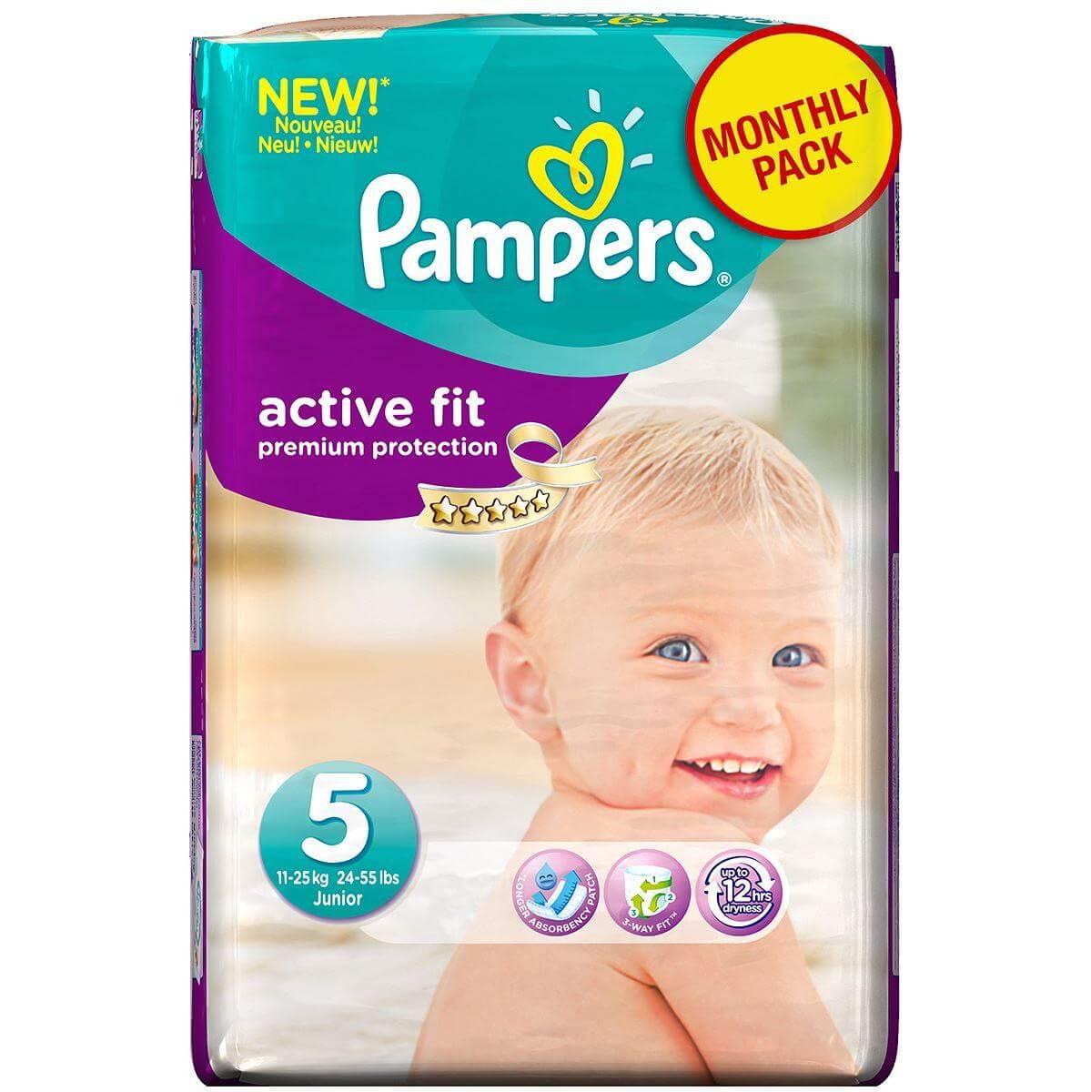 Pampers Active Fit Junior No. 5 (11-25 kg) Monthly Pack 136 τμχ, μόνο 0,36€/πάνα μητέρα παιδί   περιποίηση για το μωρό   πάνες