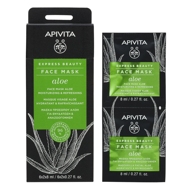 Apivita Express Beauty Μάσκα Ενυδάτωσης Με Αλόη 2x8ml