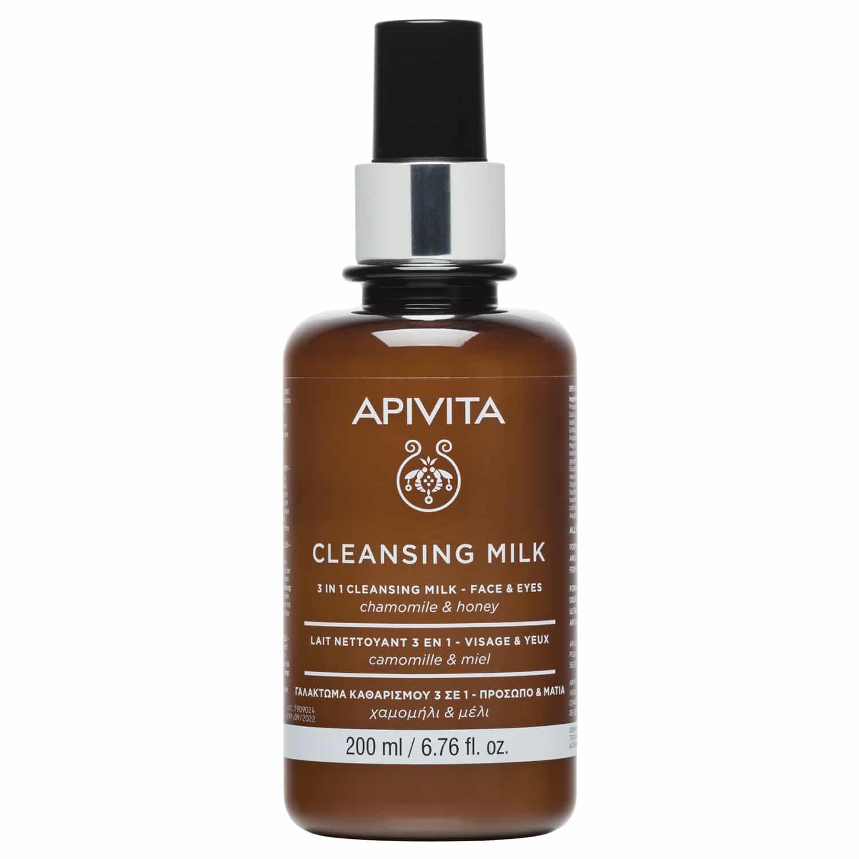 Apivita Cleansing Γαλάκτωμα 3 σε 1 Πρόσωπο & Μάτια Καθαρισμός Τόνωση Ντεμακιγιάζ με Χαμομήλι & Μέλι 200ml