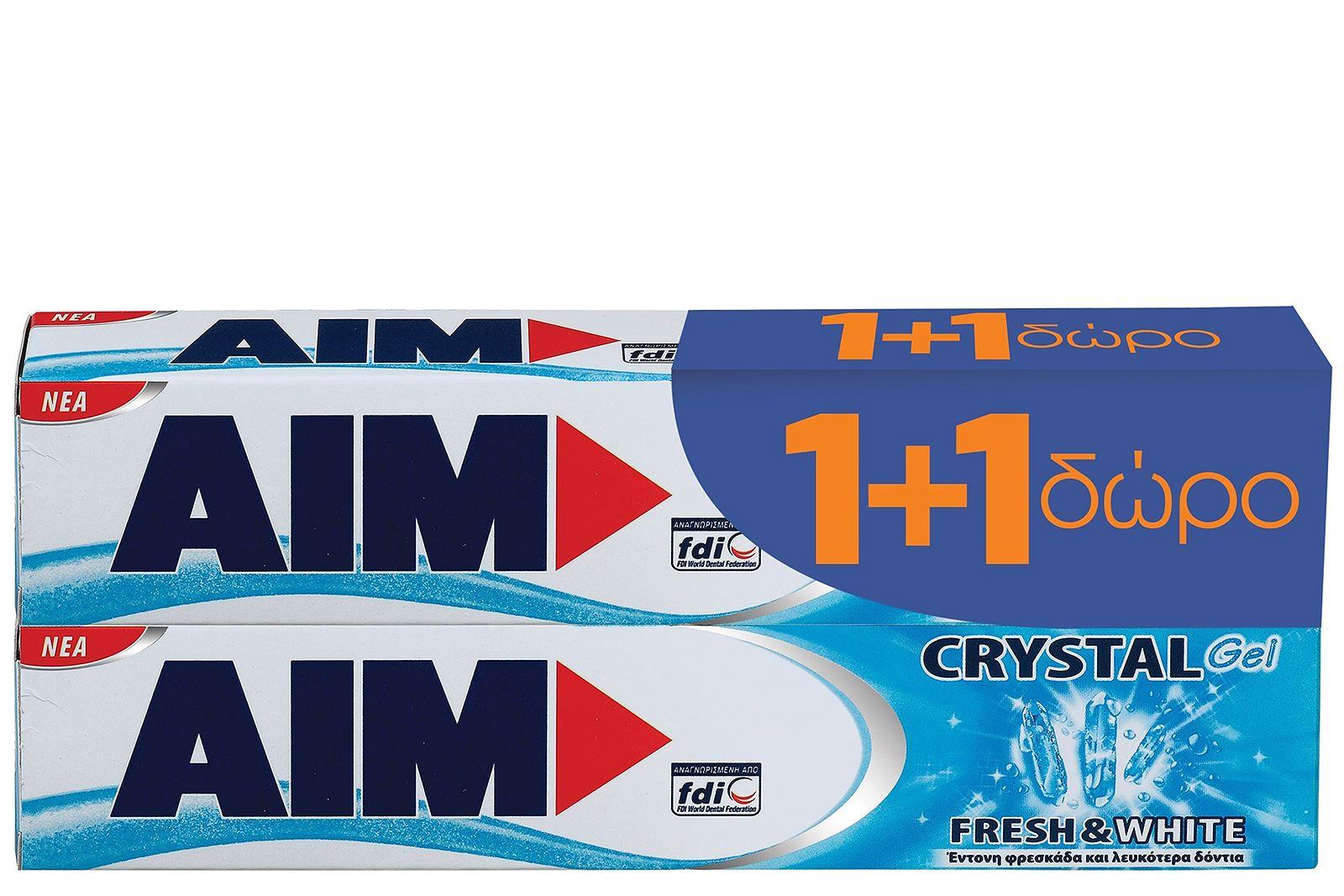 Aim Οδοντόκρεμα Aim Crystal Gel 75ml 1+1 Δώρο