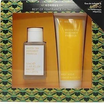 Korres Gift Set Άρωμα Γυναικείο White Tea Eau de Toilette 50ml + Δώρο Body Milk Γαλάκτωμα Σώματος 125ml