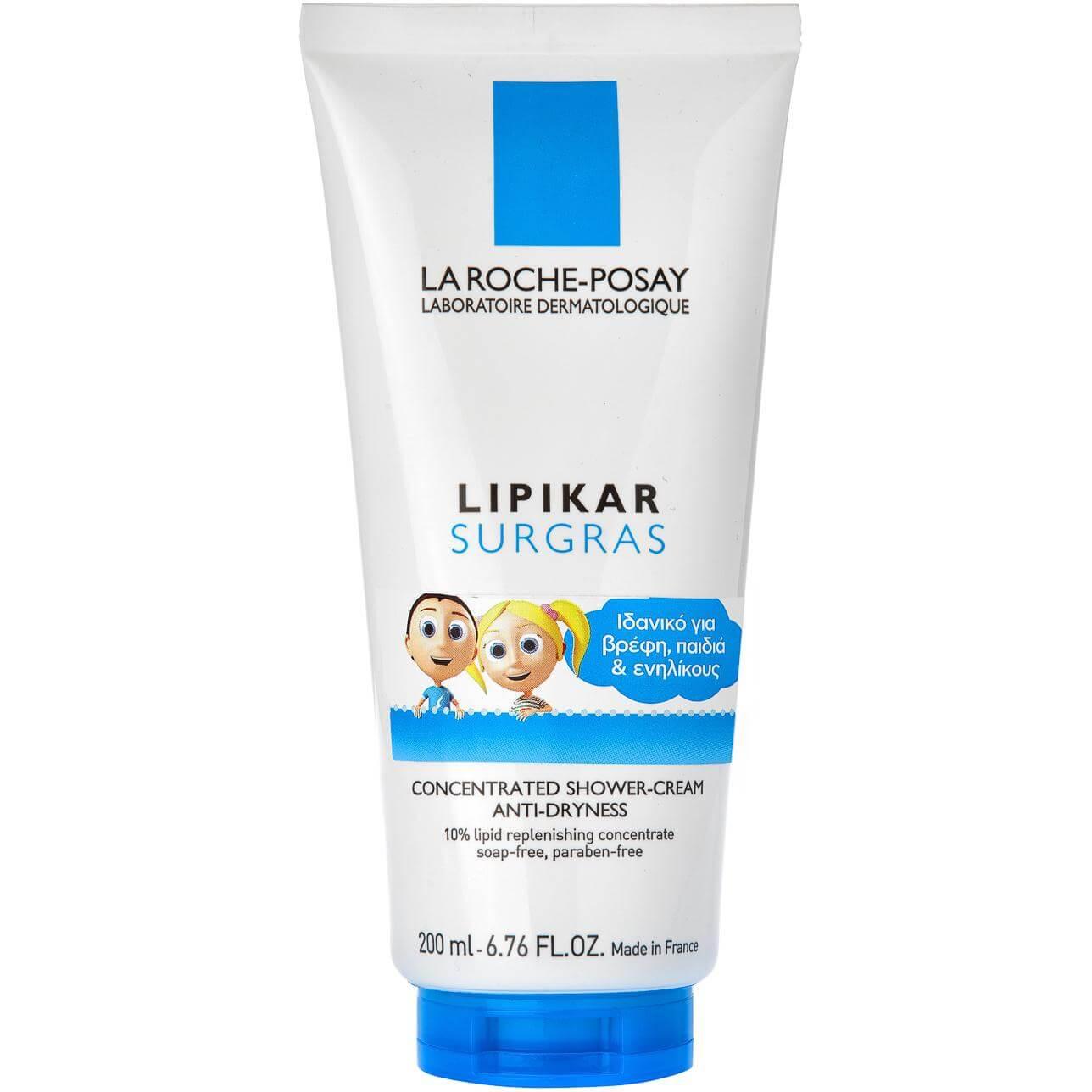 La Roche-Posay Lipikar Surgras Liquid Συμπυκνωμένη Κρέμα για Ντους που Αναπληρώνει τα Λιπίδια του Δέρματος 200ml