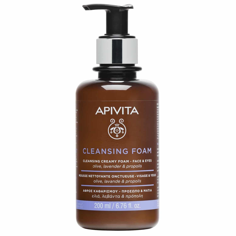 Apivita Cleansing Κρεμώδης Αφρός Καθαρισμού για Πρόσωπο & Μάτια με Ελιά, Λεβάντα & Πρόπολη 200ml