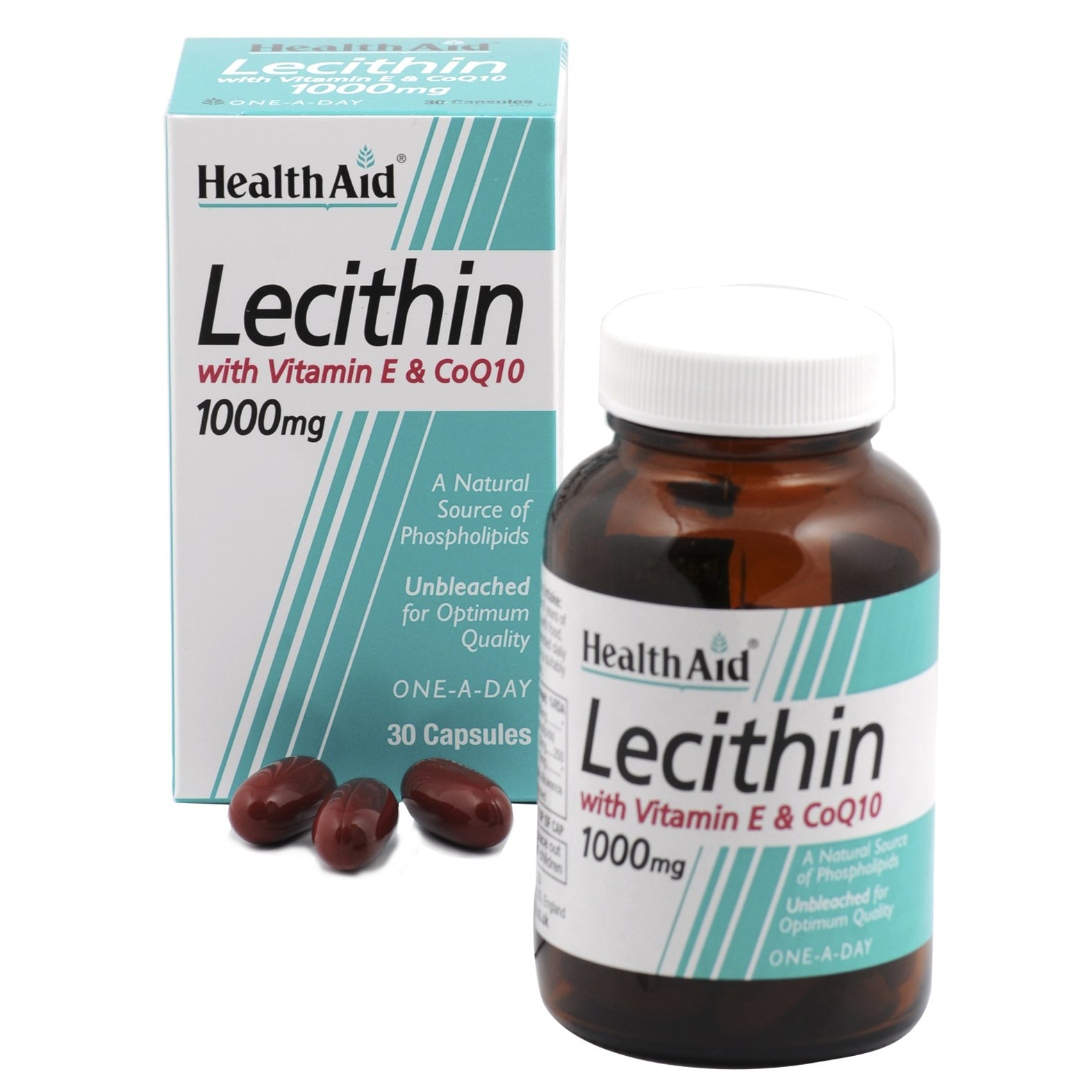 Health Aid Lecithin 1000Mg + Natural Vitamin E 45Iu + Coq 10 10Mg 30Caps