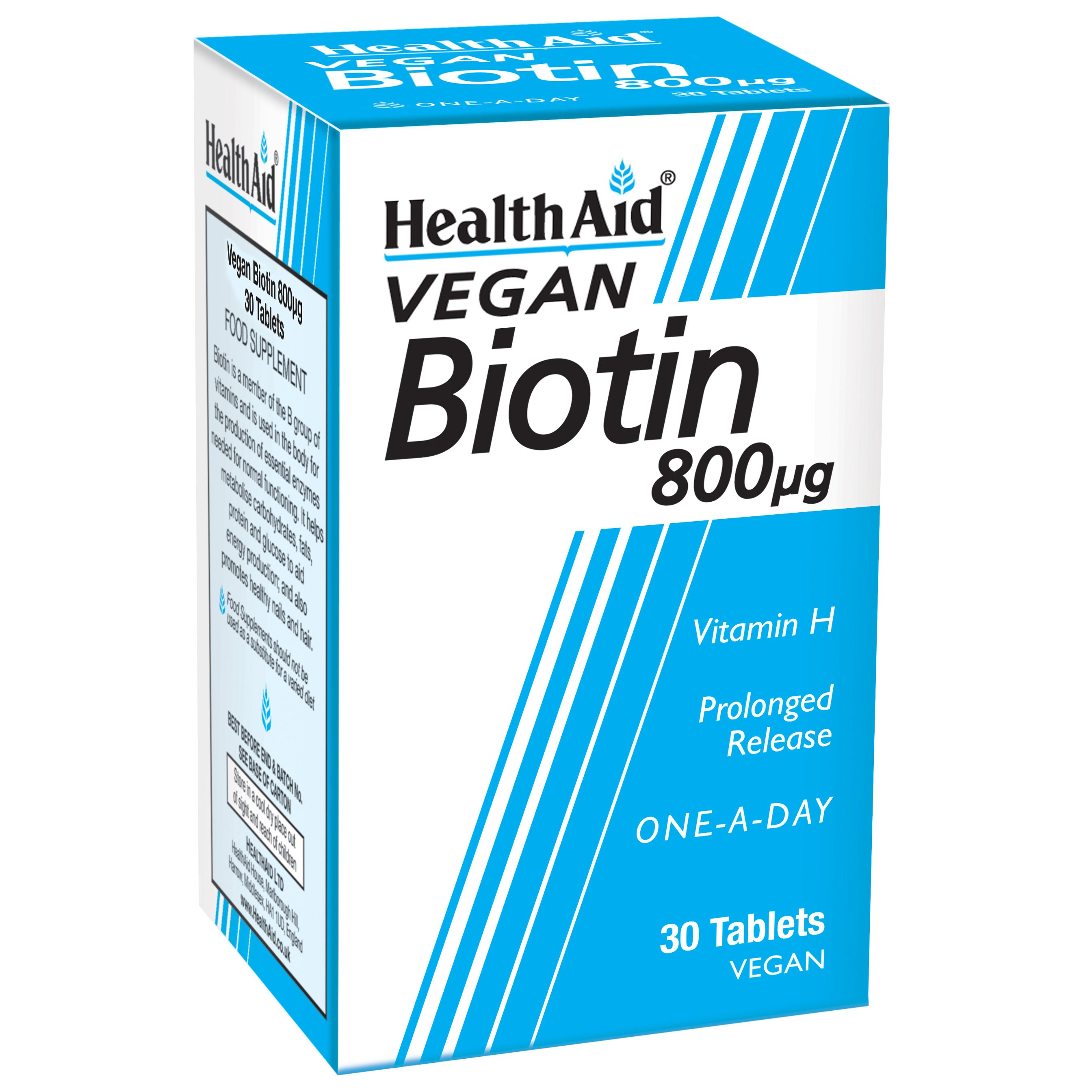 Health Aid Biotin (vitamin H) 800mg 30tabs,Συμπλήρωμα Διατροφής, Ενισχύει τα Μαλλιά, το Δέρμα και τα Νύχια, Βραδείας Αποδέσμευση