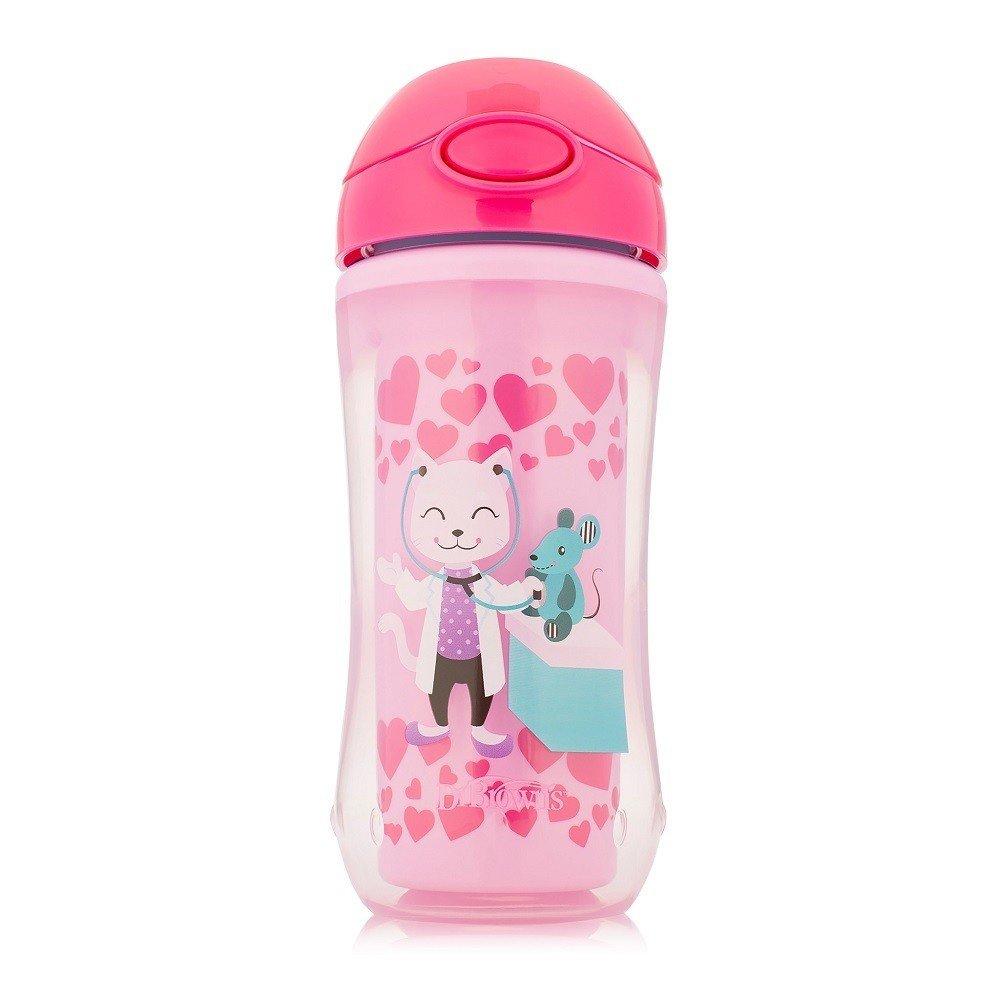 Dr Brown's Insulated Straw Cup Κύπελλο Θερμός με Καλαμάκι TC01020 από 12 Μηνών σε Ροζ Χρώμα 300ml