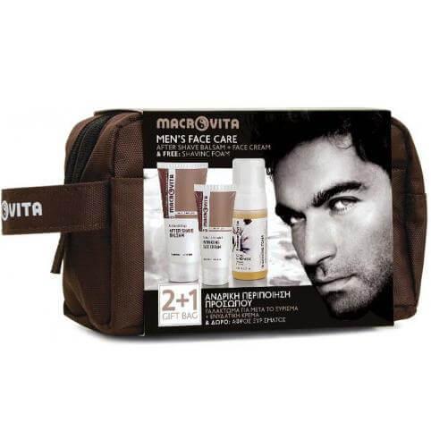 Macrovita Mens Face Care Ανδρική Περιποίηση Προσώπου After Shave100ml +Ενυδατική Κρέμα Προσώπου 50ml Δώρο Αφρός Ξυρίσματος 125m