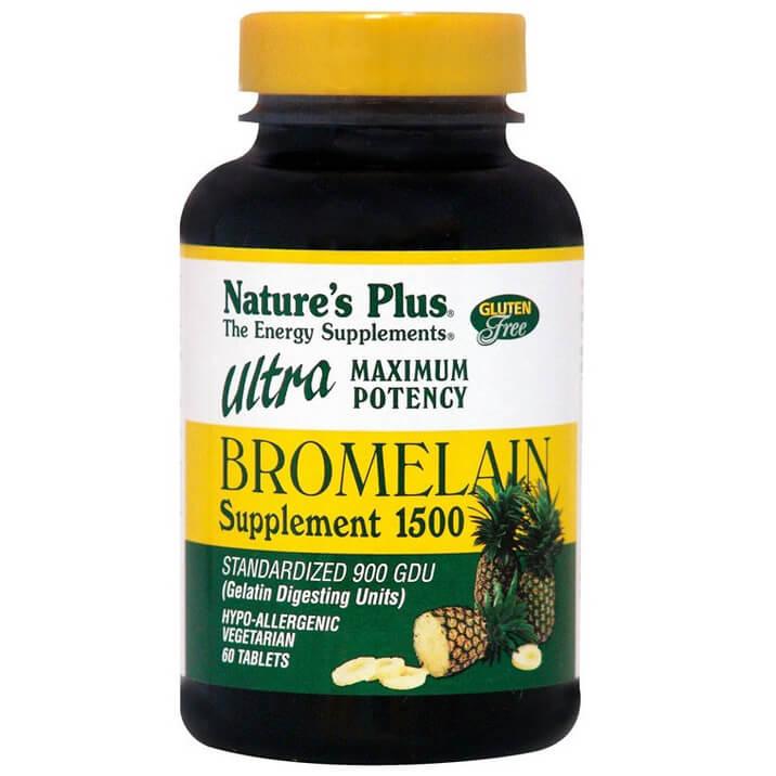 Natures Plus Bromelain Ultra 1500mg Συμπλήρωμα Διατροφής Βρομελαΐνης, Φυσικό Πεπτικό Ένζυμο που Διασπά τις Πρωτεΐνες 60 tabs